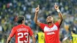 Spartak Moskva's Ari celebrates scoring the opening goal in the second leg against Fenerbahçe