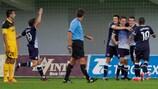 Dinamo Zagreb players celebrate the only goal