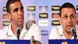 Walid Badier (left), with Hapoel coach Nitzan Shirazi, at the pre-match media conference