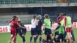 Verona celebrate their extra-time triumph against Birmingham