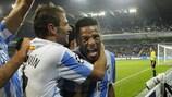 Eliseu celebra uno de los goles del Málaga en la segunda jornada