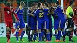 El BATE celebra el tanto de Aleksandr Pavlov ante el Bayern
