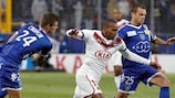 Bordeaux's Nicolas Maurice-Belay vies with Jérôme Rothen of Bastia