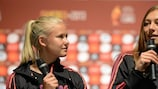 Mariann Knudsen speaks at a pre-UEFA Women's EURO 2013 finals draw press conference