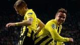 Mario Götze celebra el primer gol de Marco Reus