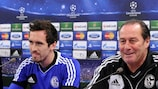 Huub Stevens sits with Christian Fuchs ahead of his final UEFA Champions League match as Schalke coach last year