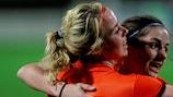 Marlous Pieëte (left) congratulates Danielle van de Donk on her equaliser against Finland