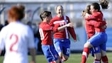 Serbia celebrate during their 5-4 victory over England