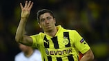 Robert Lewandowski celebrates becoming the only player to score four in a semi-final game in 2013