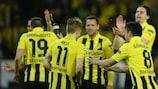 Il Dortmund festeggia la vittoria contro il Real Madrid