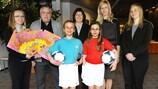 Von links: Katrin Kaarna, Keith Boanas, Sheila Begbie, Anne Rei, Emma Sykes (UEFA)