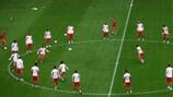 Benfica am Dienstag beim Aufwärmen