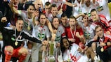 Debrecen celebrate their triumph over Győr