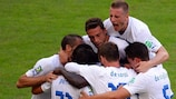 Italy celebrate Andrea Pirlo's goal against Mexico