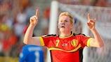 Kevin De Bruyne festeja o primeiro golo da Bélgica