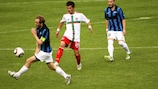 Lusitans defender Leonel Maciel vies with Hans Pauli Samuelsen of EB/Streymur