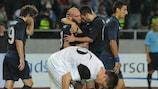 Dinamo Tbilisi celebrate one of their six goals against EB/Streymur