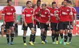 Legia celebrate a UEFA Champions League goal against The New Saints