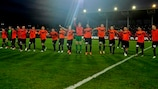 Shakhter players celebrate their famous victory