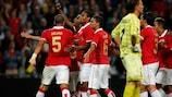 PSV celebrate Jurgen Locadia's goal