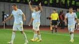 Steaua's Gabriel Iancu celebrates one of his pair of goals in Tbilisi