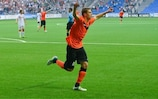 Substitute Roman Murtazayev celebrates after scoring against Skënderbeu