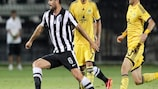 Action from the UEFA Champions League qualifying tie between PAOK and Metalist