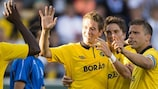 Mohamed Bangura and Marcus Rohdén celebrate one of Elfsborg's seven goals