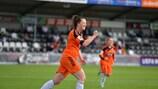 Suzanne Lappin del Glasgow esulta dopo essere andata a segno nel 9-0 contro il Birkirkara