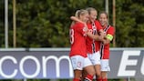 Andrine Tomter, Synne Jensen and Guro Reiten in action for Norway in 2013