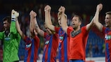 Plzeň players celebrate their victory against Kalju