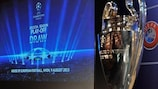 The UEFA Champions League trophy prior to the play-off draw in Nyon, Switzerland
