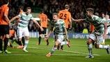 James Forrest celebrates scoring Celtic's winner