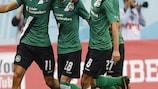 Los jugadores del St Gallen celebran uno de sus cuatro goles ante el Spartak