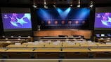 The draw hall in Nyon ready for the draw on Thursday morning