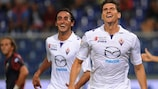 Mario Gomez celebrates a Serie A goal for Fiorentina