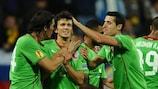 Rubin celebrate one of their five goals in Slovenia