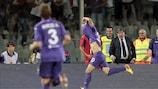 Ryder Matos celebrates scoring his first goal for Fiorentina on his debut