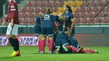 Zürich celebrate scoring against Sparta