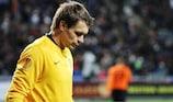 Aleksandr Mokin reacts as Shakhter let a two-goal lead slip