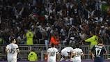 Guimarães celebrate a Group I goal at Lyon