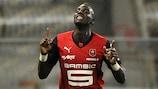 Tiemoué Bakayoko celebrates his solitary Ligue 1 goal for Rennes