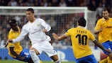 Cristiano Ronaldo looks to evade Carlos Tévez and Paul Pogba in Madrid in October 2013