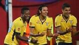 Sergio Floccari (centre) celebrates one his two quick-fire goals against Trabzonspor