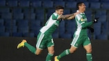 Juninho Quixadá (right) is congratulated by Marcelinho after putting Ludogorets in front