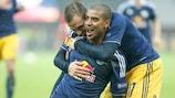 Alan celebrates after scoring Salzburg's third