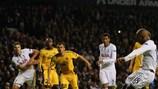 Jermain Defoe scores his landmark 23rd European goal for Tottenham