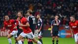 Jonny Evans celebra su gol con el United