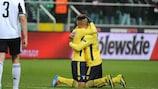 Felipe Anderson and Brayan Perea celebrate Lazio's second goal in Warsaw