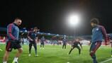 Dante e Franck Ribéry in allenamento alla vigilia della gara
